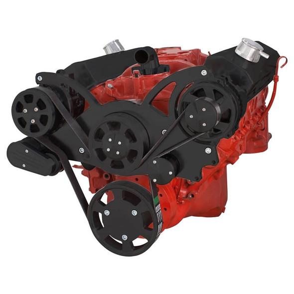 Black Serpentine System for SBC 283-350-400 - AC & Alternator
