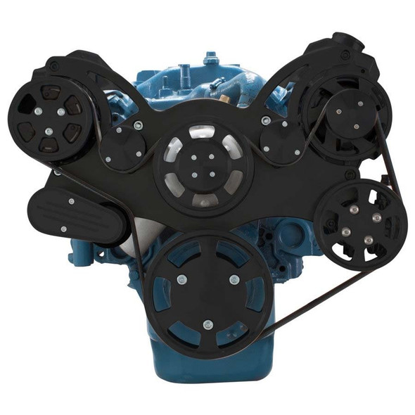 Stealth Black Serpentine System for Small Block Mopar - AC, Power Steering & Alternator
