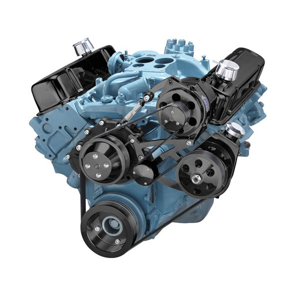 Black Pontiac Serpentine Conversion - Power Steering