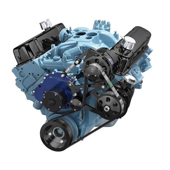 Black Pontiac Serpentine Conversion - Power Steering, Electric Water Pump