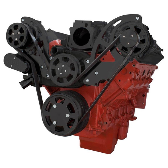 Black Chevy LS Engine Serpentine Kit - AC & Alternator