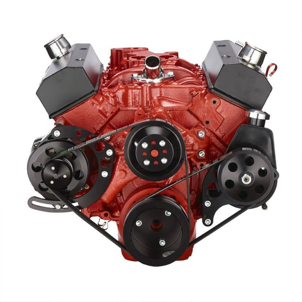Black Chevy Small Block Serpentine Conversion - Power Steering