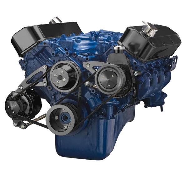 Black Ford 460 Serpentine System - Power Steering & Alternator