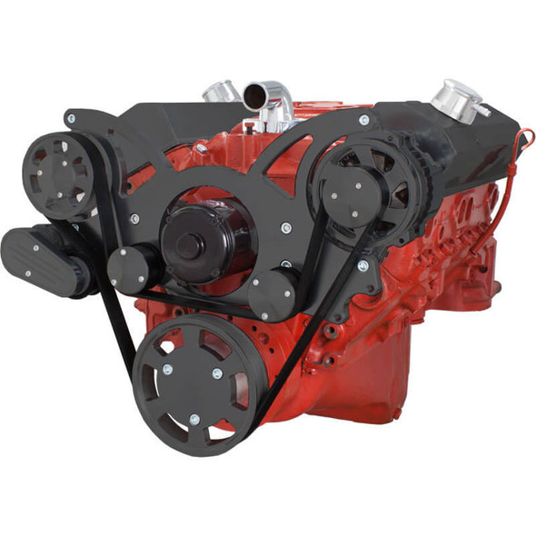 Black Serpentine System for SBC 283-350-400 - Alternator Only with Electric Water Pump