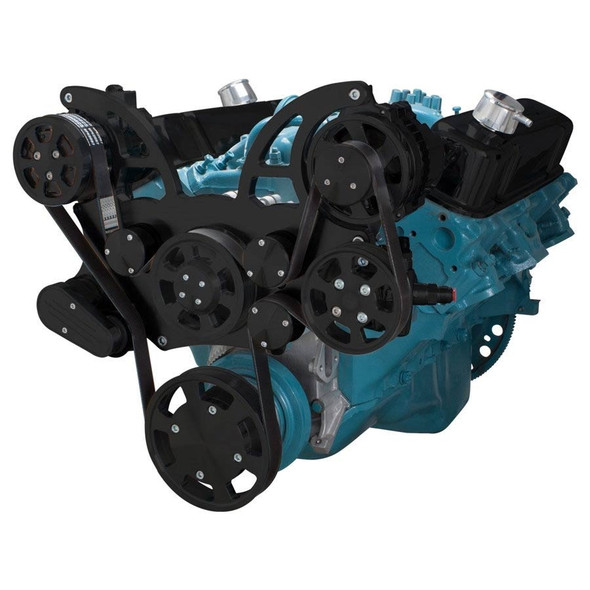 Stealth Black Pontiac Serpentine System for 350-400, 428 & 455 V8 - AC, Power Steering & Alternator