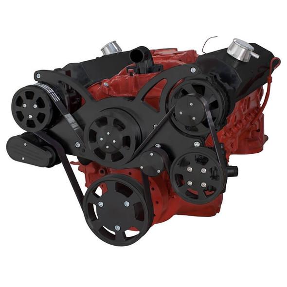 Black Serpentine System for SBC 283-350-400 - AC, Power Steering & Alternator