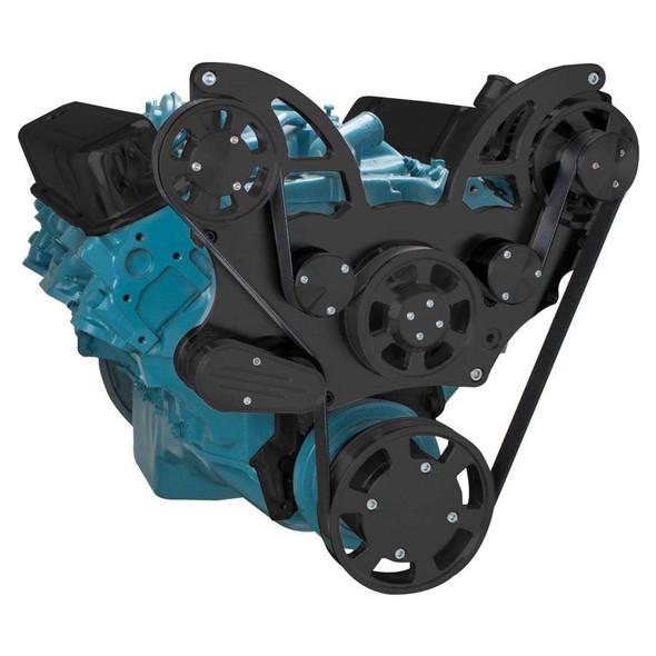 Stealth Black Pontiac Serpentine System for 350-400, 428 & 455 V8 - Alternator Only