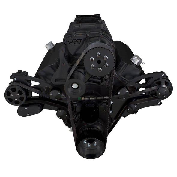 Black Serpentine System for 396, 427 & 454 Supercharger - AC & Alternator with Electric Water Pump