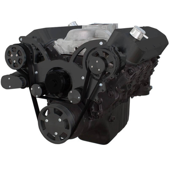 Black Serpentine System for 396, 427 & 454 - AC & Alternator with Electric Water Pump