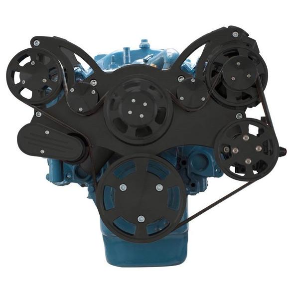 Stealth Black Serpentine System for Small Block Mopar - Power Steering