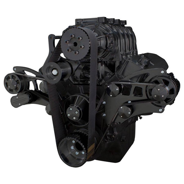 Black Serpentine System for 396, 427 & 454 Supercharger - Alternator Only - All Inclusive