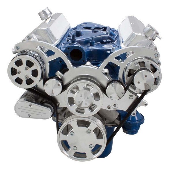 Polished Wraptor Serpentine System for Ford Small Block - AC & Alternator Configuration