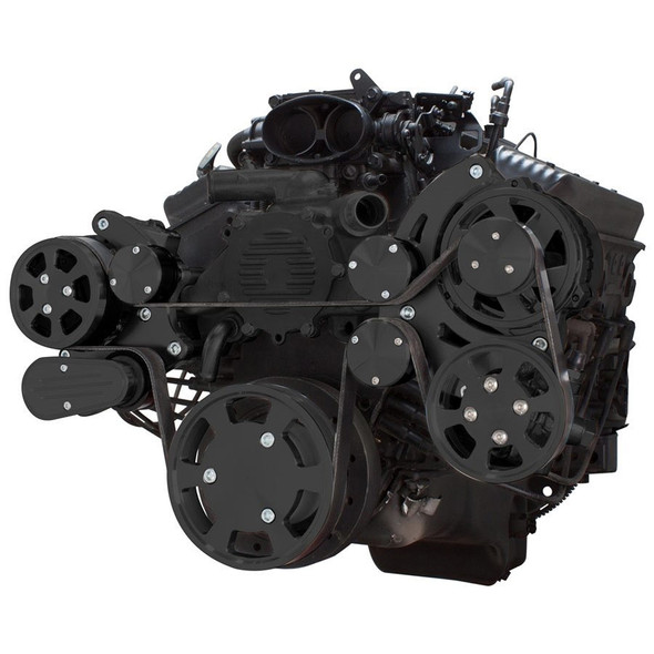 Stealth Black Serpentine System for LT1 Generation II - AC, Power Steering & Alternator