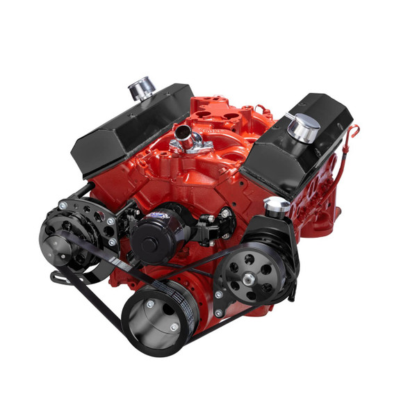 Black Chevy Small Block Serpentine Conversion - Power Steering with Electric Water Pump