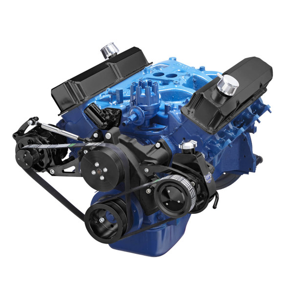 Black Ford 390 Serpentine System - Power Steering & Alternator
