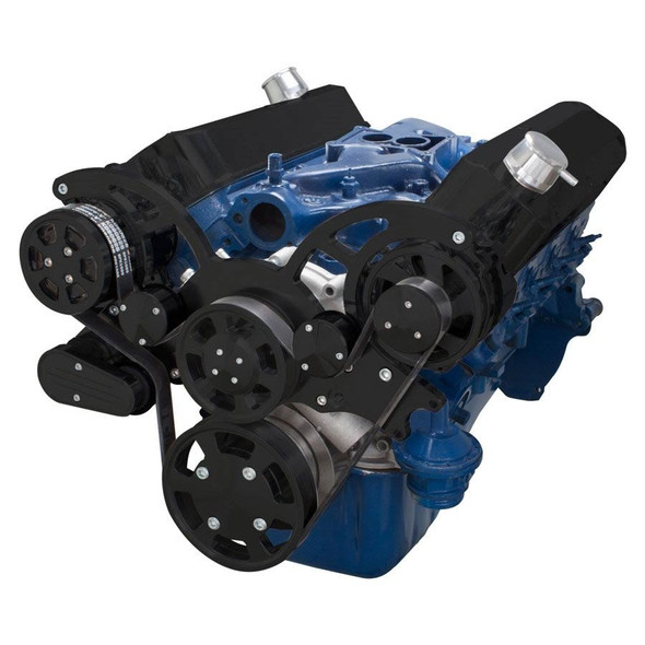 Stealth Black Wraptor Serpentine System for Ford Small Block - AC & Alternator Configuration