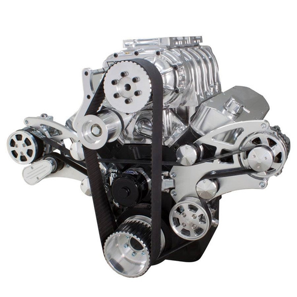 Serpentine System for Big Block Chevy Supercharger - AC, Power Steering & Alternator with EWP & Root Style Blower