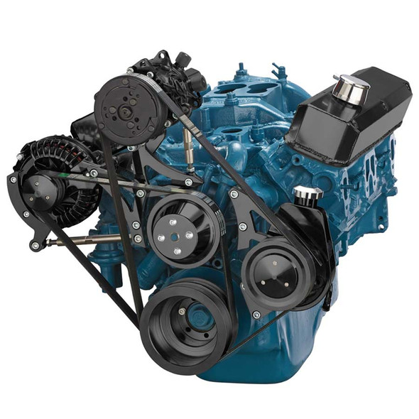 Stealth Black Small Block Chrysler Serpentine AC, Alternator and Power Steering Beast Kit