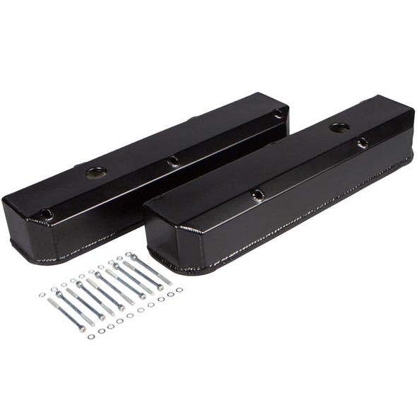 Stealth Black Powdercoat Small Block Chrysler Valve Covers and Hardware