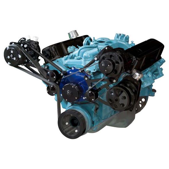 Stealth Black Pontiac Serpentine Conversion - AC, Power Steering & Alternator - Electric Water Pump