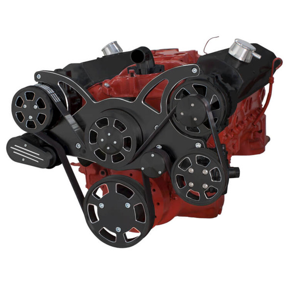 Black Diamond Serpentine System for SBC 283-350-400 - AC, Power Steering & Alternator - All Inclusive