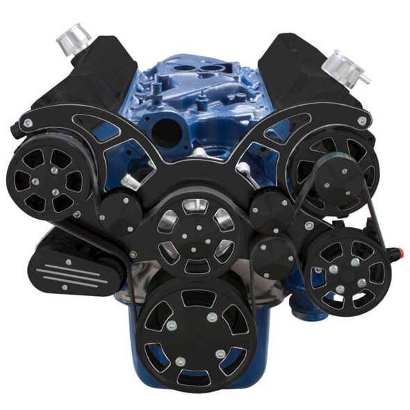 Black Diamond Serpentine System for 289, 302 & 351W - AC, Power Steering & Alternator - All Inclusive
