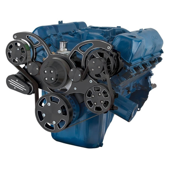 Black Diamond Serpentine System for 351C, 351M & 400 - Power Steering & Alternator - All Inclusive