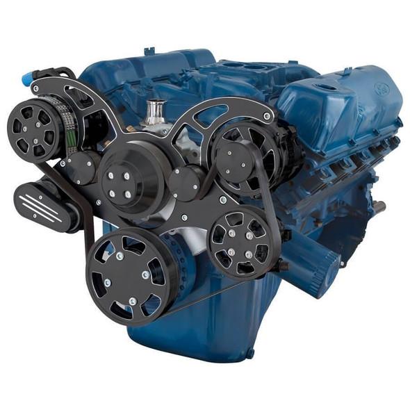 Black Diamond Serpentine System for 351C, 351M & 400 - AC, Power Steering & Alternator - All Inclusive