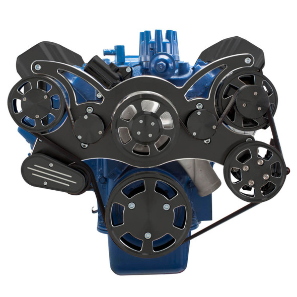 Black Diamond Serpentine System for Ford FE Engines - Power Steering & Alternator - All Inclusive