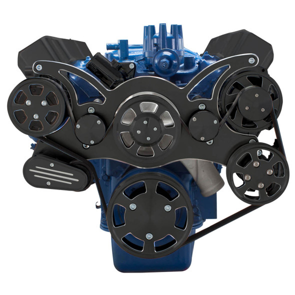 Black Diamond Serpentine System for Ford FE Engines - AC, Power Steering & Alternator - All Inclusive