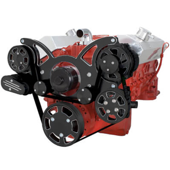 Black Diamond Serpentine System for SBC 283-350-400 - Power Steering with Electric Water Pump
