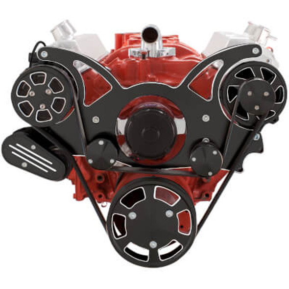 Black Diamond Serpentine System for SBC 283-350-400 - AC & Alternator with Electric Water Pump