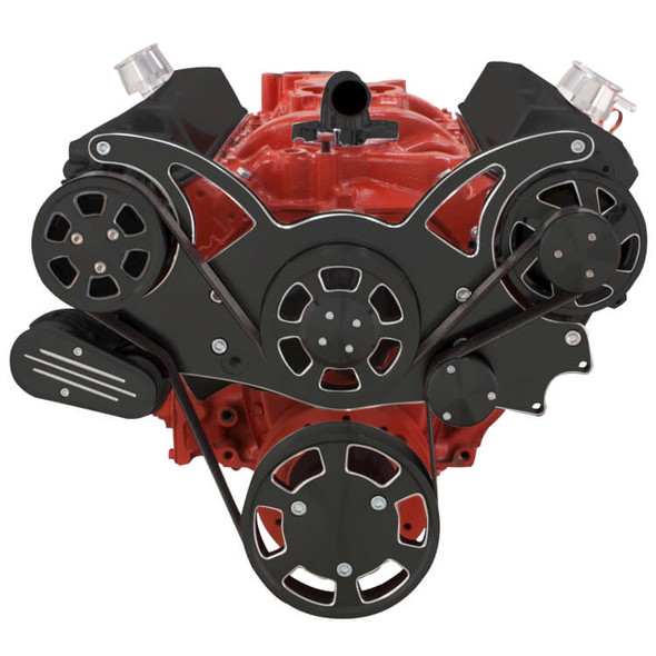 Black Diamond Serpentine System for SBC 283-350-400 - AC & Alternator - All Inclusive