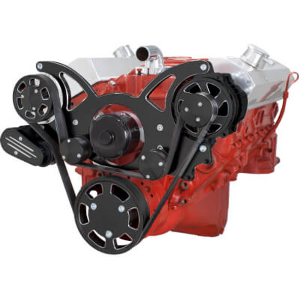 Black Diamond Serpentine System for SBC 283-350-400 - Alternator Only with Electric Water Pump