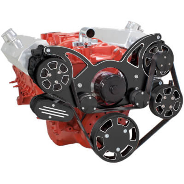 Black Diamond Serpentine System for SBC 283-350-400 - AC, Power Steering & Alternator with Electric Water Pump