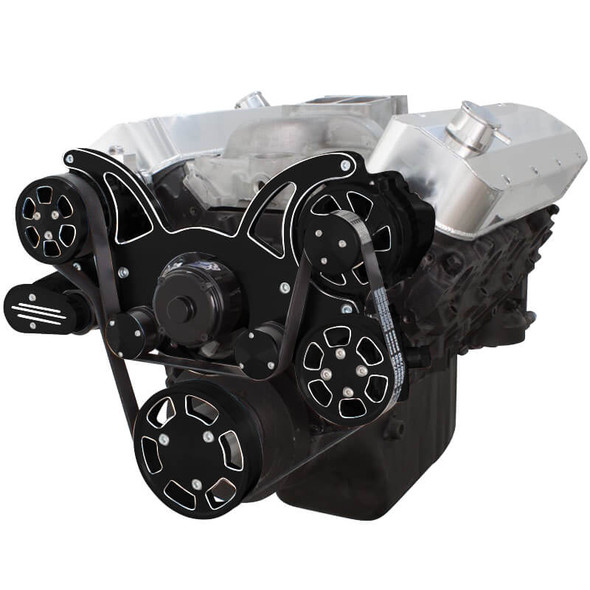 Black Diamond Serpentine System for Big Block Chevy - AC, Power Steering & Alternator with Electric Water Pump