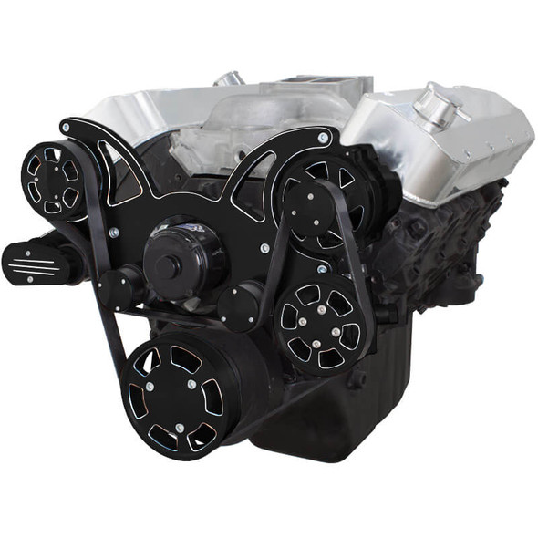 Black Diamond Serpentine System for 396, 427 & 454 - Power Steering & Alternator with Electric Water Pump - All Inclusive