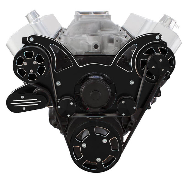 Black Diamond Serpentine System for 396, 427 & 454 - AC & Alternator with Electric Water Pump - All Inclusive