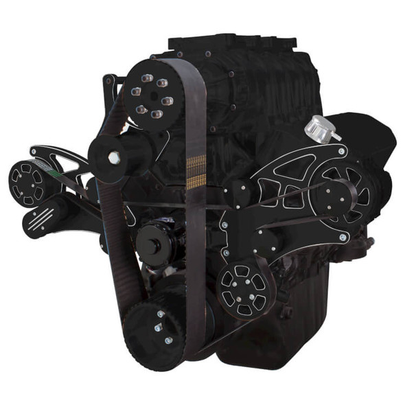Black Diamond Serpentine System for 396, 427 & 454 Supercharger - Power Steering & Alternator with Root Style Blower - All Inclusive