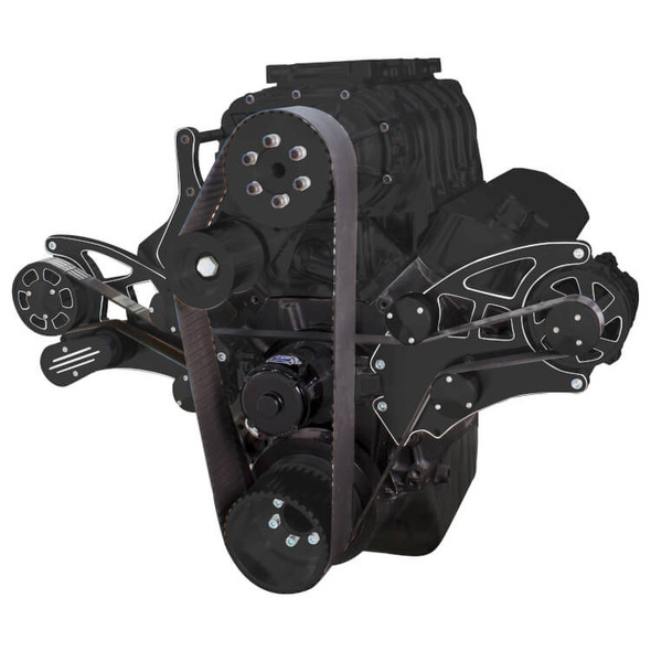 Black Diamond Serpentine System for 396, 427 & 454 Supercharger - Alternator Only with Electric Water Pump - All Inclusive