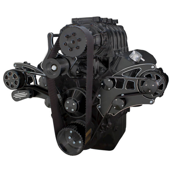 Black Diamond Serpentine System for 396, 427 & 454 Supercharger - AC & Alternator - All Inclusive