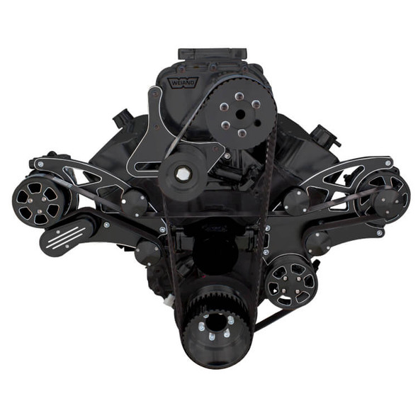 Black Diamond Serpentine System for Big Block Chevy Supercharger - AC, Power Steering & Alternator with Electric Water Pump - All Inclusive