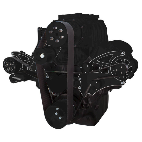 Black Diamond Serpentine System for 396, 427 & 454 Supercharger - AC & Alternator with Electric Water Pump - All Inclusive