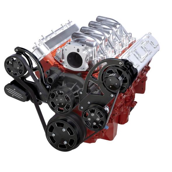 Black Diamond Chevy LS Serpentine Kit - Power Steering & Alternator