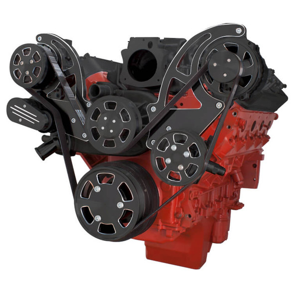 Black Diamond Chevy LS Engine Serpentine Kit - AC, Alternator & Power Steering