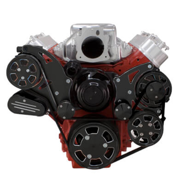 Black Diamond Chevy LS Engine Serpentine Kit - AC, Alternator & Power Steering with Electric Water Pump