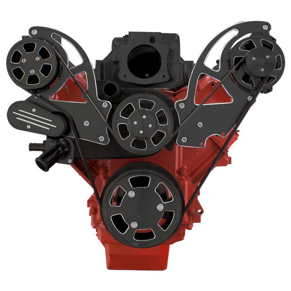 Black Diamond Chevy LS Engine Serpentine Kit - AC & Alternator