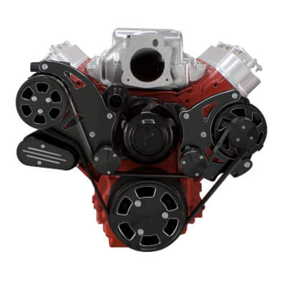 Black Diamond Chevy LS Engine Serpentine Kit - Alternator Only with Electric Water Pump