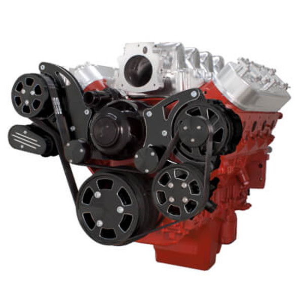 Black Diamond Chevy LS Engine Serpentine Kit - Power Steering & Alternator with Electric Water Pump