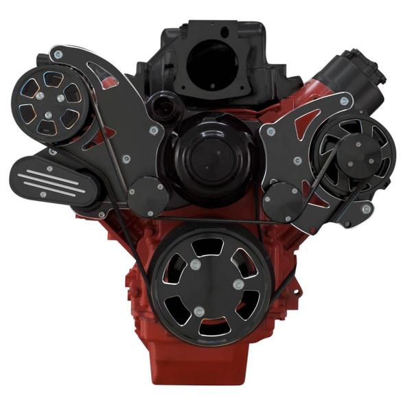 Black Diamond Chevy LS Serpentine Kit - AC & Power Steering, Electric Water Pump